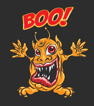 Cartoon Yellow Monster with huge open Mouth and Wording Boo. Vector illustration.