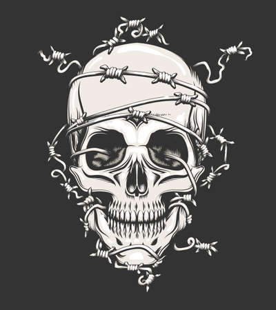 Human Skull in barbed wire drawn in tattoo style. Иллюстрация
