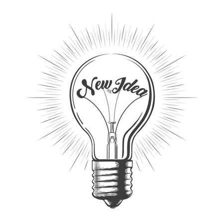 Ampoule avec libellé Nouvelle idée dessinée dans le style de la gravure.