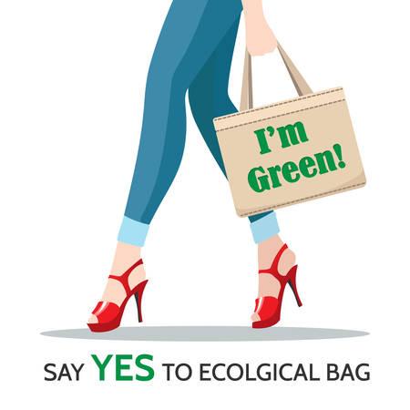 Woman Legs and reusable Shopping Bag with motivation slogans I'm Green and Say Yes to Ecological Bag. Eco lifestile concept. Vector illustration. Vektoros illusztráció