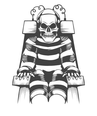 Human Skeleton sits on Electric Chair. Judgement and punishment concept in tattoo style. Stock Illustratie
