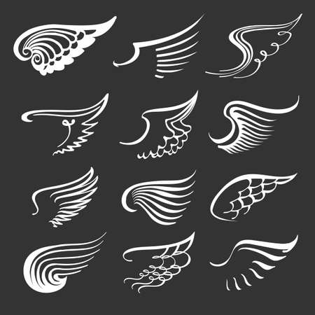 Doodle angel wings set. Contour wing icons. Angels and bird symbols. Иллюстрация