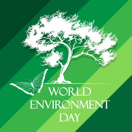 World Environment Day Poster with tree and butterfly. Vector illustration Illustration