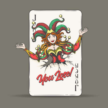 Joker coming out of fractured playing card with lettering You Lose. Vector illustration.