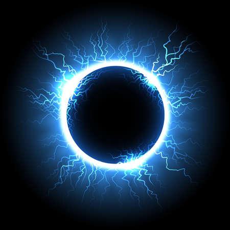 Electric lightning ball or electricity thunderbolt in a sky. Vector illustration. Illustration
