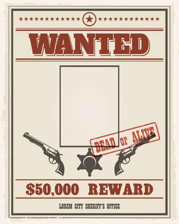 Retro gezocht westerse poster met lege ruimte voor portret. Gezocht spandoek met fotolijst. vector illustratie