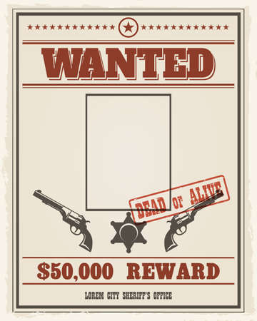 Retro wanted western poster with blank space for portrait. Wanted banner with frame photo. Vector illustration
