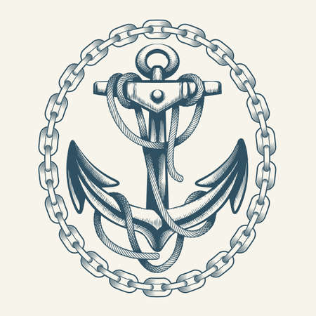 Anchor with Ropes in Circle of Chains drawn in tattoo style. Vector Illustration.