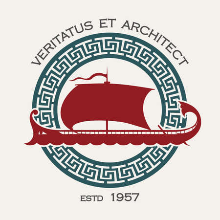 Docking or Shipyard Company Emblem with Ancient Greek ship Galley and meander Circle. Vector Illustration. Ilustração