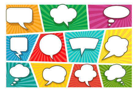 Fondo de página de cómic colorido con diferentes burbujas de discurso blanco en blanco en estilo pop-art. Ilustración vectorial Ilustración de vector