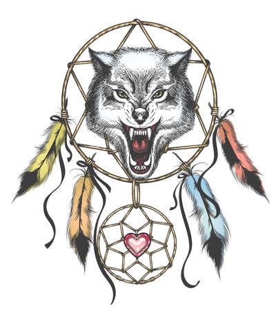 Tótem étnico de Lobo y Atrapasueños en estilo Tattoo. Ilustración vectorial