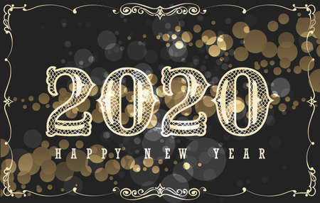Happy New 2020 Year Card Design in Vintage Style. Hand lettering on black background with golden bubbles. Vector Illustration.