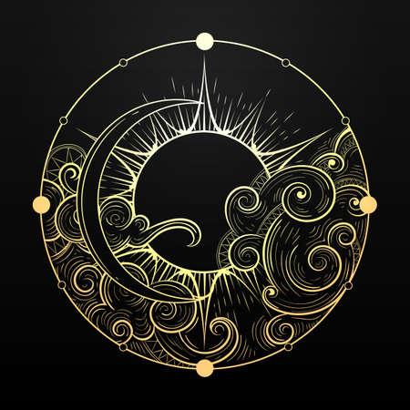 Soleil et lune d'or avec symbole ésotérique de nuage. Élément dessiné à la main dans le style de tatouage. Illustration vectorielle.