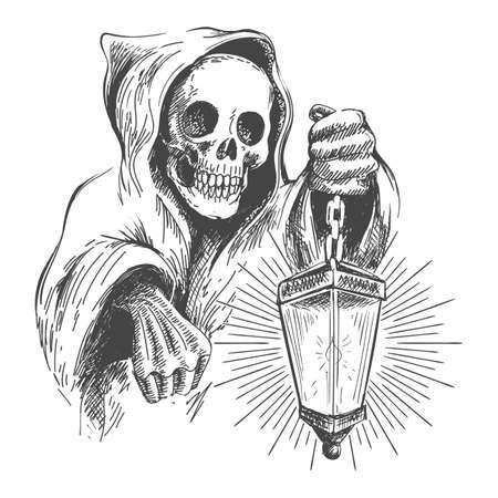 Totenkopf in der Kapuze mit Laterne in der Hand. Vektor-Vintage-Illustration Vektorgrafik