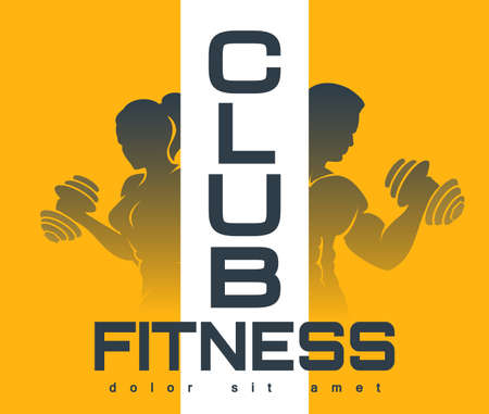 Colorful Fitness Club Emblem. Silhouettes of Training People on yellow background. Vector illustration