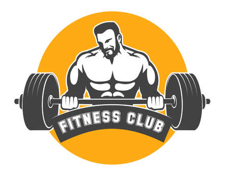 Fitness Club or Gym emblem. Sporty man holds barbell. Power lifting exercises concept. Vector illustration.
