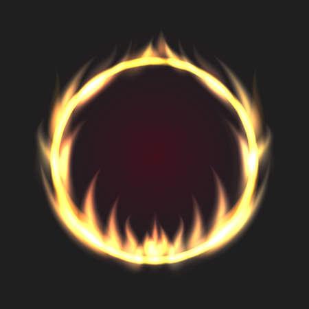 Fire circle. Ring of fire flame. Round fiery frame on black background. Vector illustration Ilustração