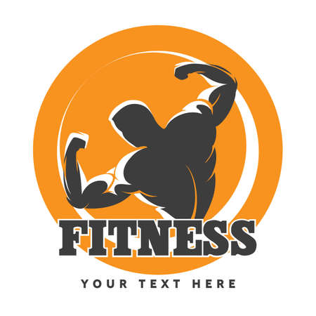 Fitness or Gym club emblem with posing athletic man. Vector illustration