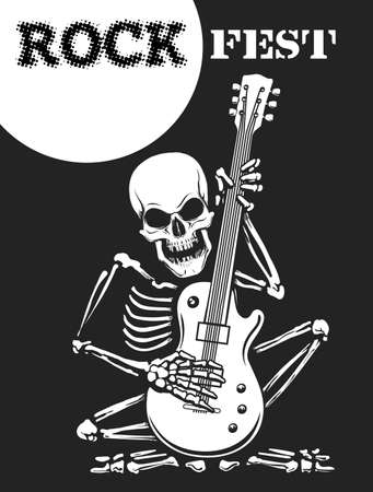 Rock festival black and white poster with skeleton plays electric guitar. Vector illustration.