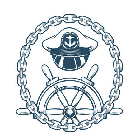 Captain Hat and steering Wheel in Circle of Chains. Engraved nautical emblem. Vector Illustration.