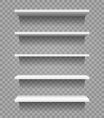 White empty shop shelves isolated on transparent background. Showcase or supermarket mock up. Vector illustration. Illustration