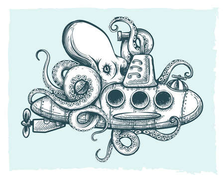 Hand drawn Giant octopus plays with a submarine. Vector illustration.