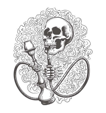 Skull with hookah in a smoke clouds drawn in tattoo style. Vector illustration.