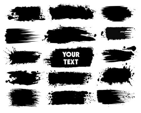 Black ink spots with Drops Blots isolated on background. Vector illustration.