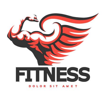 Emblema de fitness con brazo musculoso. Culturismo, fitness, concepto de gimnasio. Gráficos del emblema. Ilustración de vector.