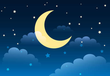 Abstract starry night sky with moon and clouds in cartoon style. Vector illustration Illustration