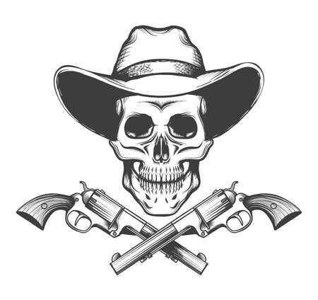 Skull in a western hat and a pair of crossed hand guns drawn in tattoo style. Vector illustration.