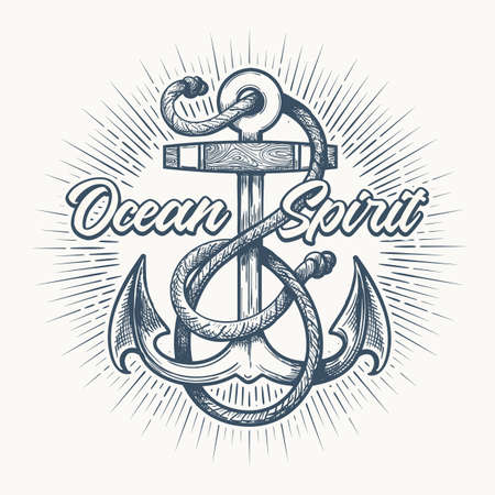 Nautical Anchor with rope and wording Ocean Spirit. Hand Drawn Sketch in Tattoo style.Vector illustration