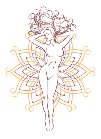 Silhouette of beautiful nude woman. Fashion girl with long hair and open flower geometrical pattern isolated on white. Beauty Emblem. Vector illustration