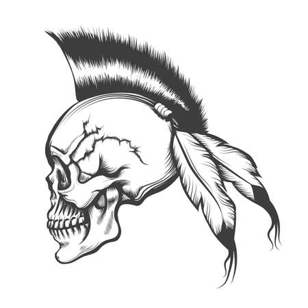 Hand drawn Human skull with Iroquois Hair style and eagle feathers. Vector illustration