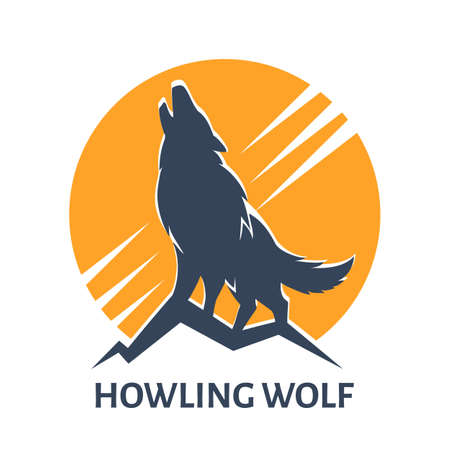 Emblem of Howling Wolf against Full Moon. Vector Illustration