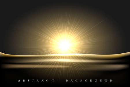 Shining Star rising over desert landscape black background. Vector illustration