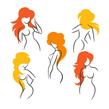 Set of Sexy Long Hair Girls Outline Silhouettes. Vector Illustration Illustration