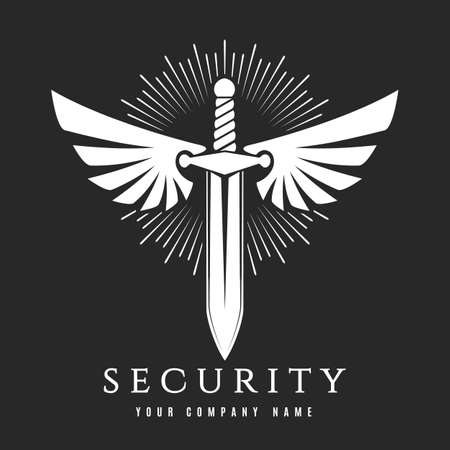 Security or Guard Emblem. White Winged sword isolated on black. Vector illustration Illustration