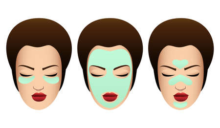 Set of Female Faces with variuos Beauty Masks. Cosmetic Procedure template. Vector illustration.