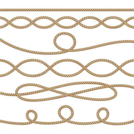 Cordes nautiques. Éléments de décoration de voile. Illustration vectorielle de corde marine Vecteurs