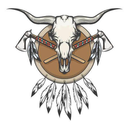 Native Americans Emblem. Bull skull and tomahawk on a shield. Vector illustration.