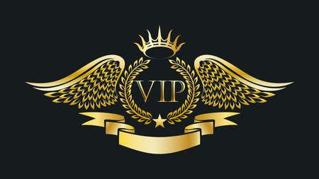 Golden VIP Emblem. Laurel wreath, eagle wings, crown and ribbon. Vector illustration.