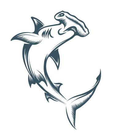 Hammerhead Shark Tattoo drawn in Engraving style. Vector illustration.