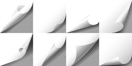 Set gekrulde witte pagina hoeken op transparante achtergrond. Vector illustratie.