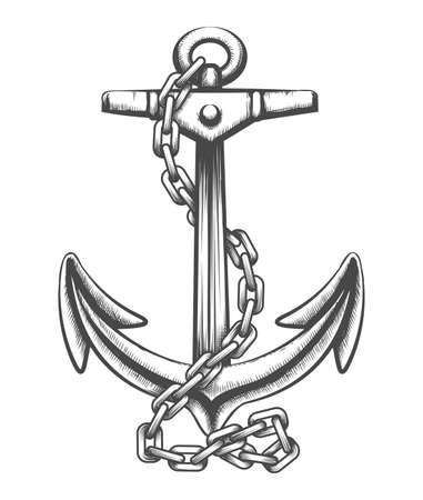 Tattoo of Ship anchor in hains drawn in engaving style. Vector Illustration.
