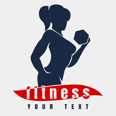 Bodybuilder or Fitness  Template. Athletic Woman Holding Weight Silhouette.