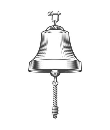 Ship Bell drawn in engraving style. Vector illustration.