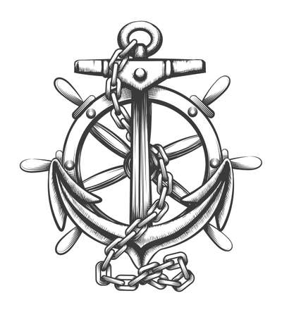 Anchor and ships wheel tattoo in engraving style isolated on white background. Vector illustration
