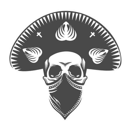 Calavera mexicana en sombrero. Cráneo de bandido con sombrero y pañuelo. Ilustración de vector