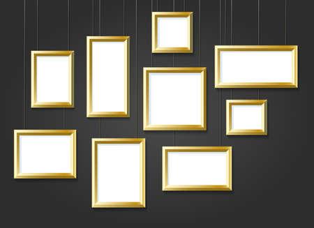 Set of golden picture frames isolated on black background. Vector illustration. Banque d'images - 136830391